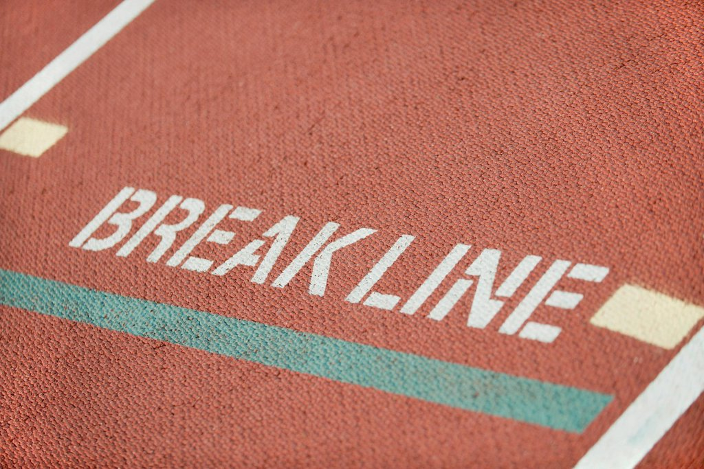 Break line marking on running track lane : Stock Photo