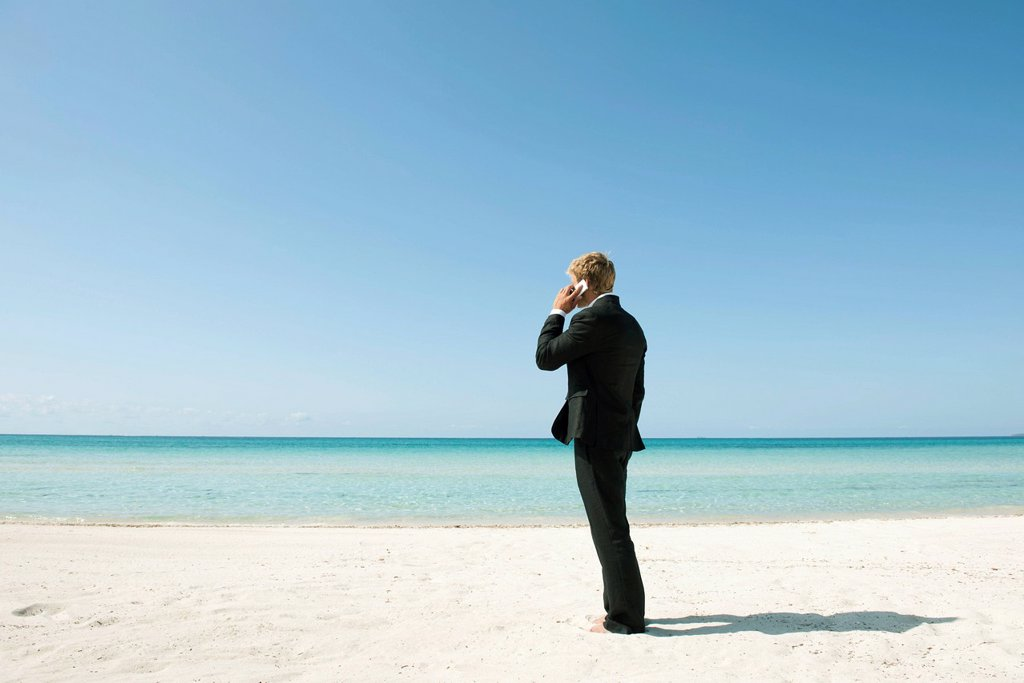 Businessman talking on cell phone while standing on beach, rear view : Stock Photo
