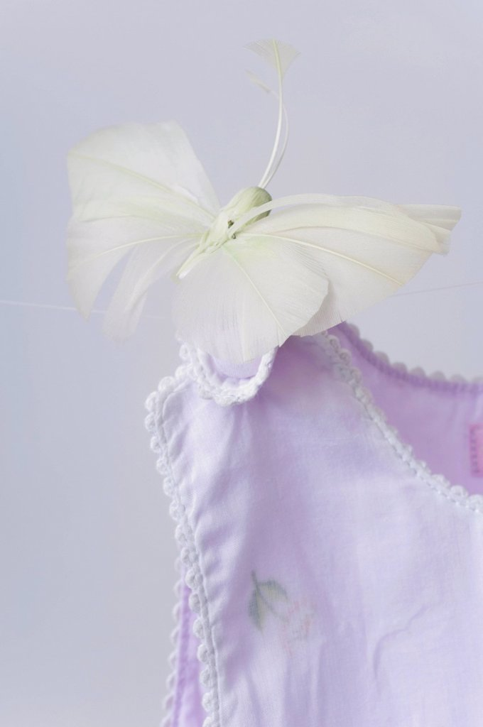 Stock Photo: 1569R-9079973 Fake butterfly resting on shoulder of baby clothing