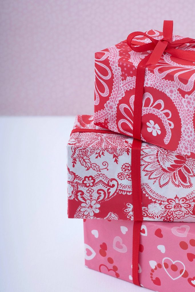 Stock Photo: 1569R-9080333 Festively wrapped gifts