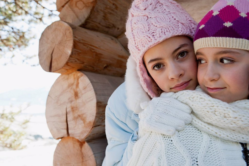 Stock Photo: 1569R-9080514 Sisters together outdoors, portrait