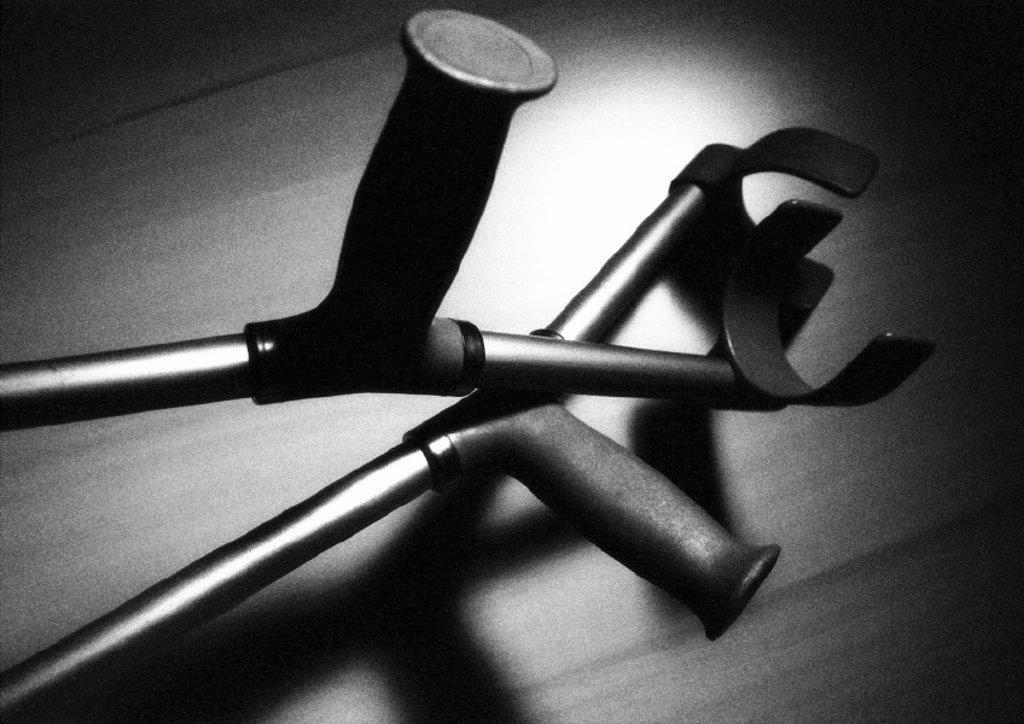Stock Photo: 1569R-98005 Crutches, close-up, B&W