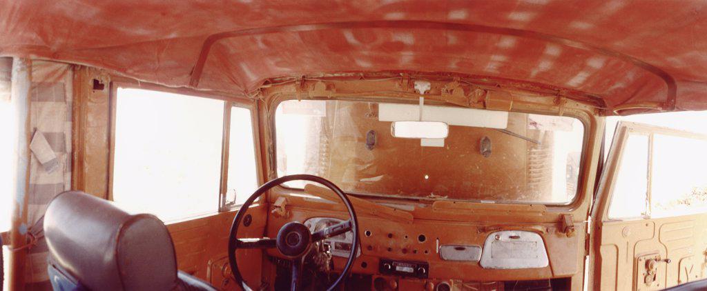 Vehicle interior, Sahara Desert, Egypt  : Stock Photo