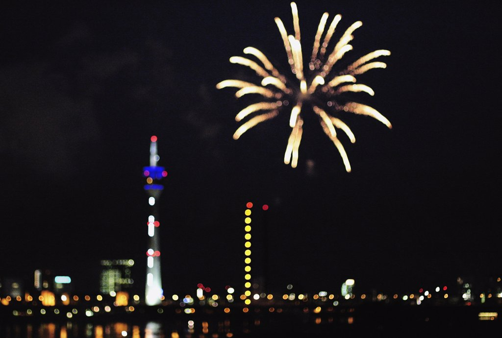 Fireworks over Duesseldorf, Germany : Stock Photo