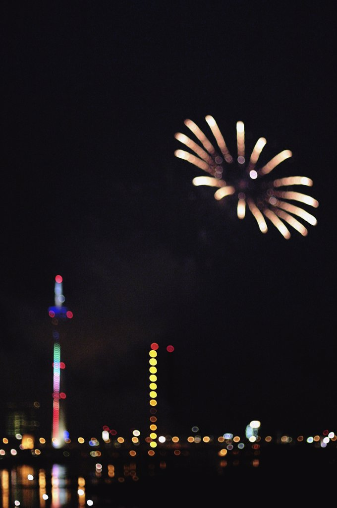 Stock Photo: 1570R-0645 Fireworks over Duesseldorf, Germany