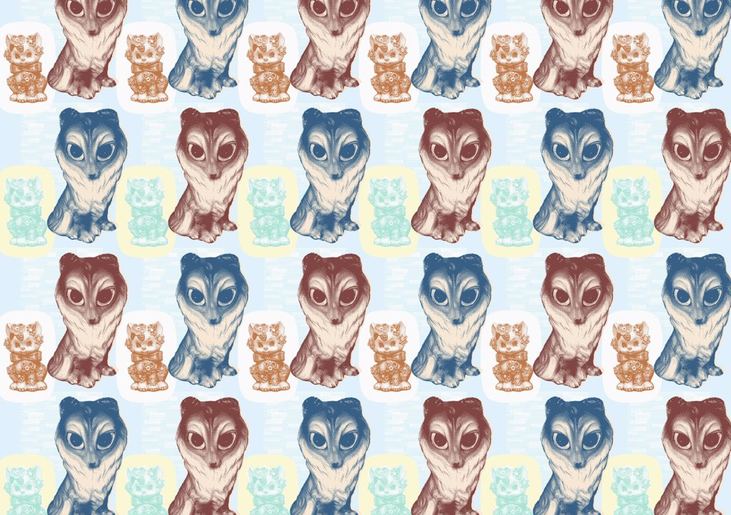 illustrated pattern featuring dog and girl : Stock Photo