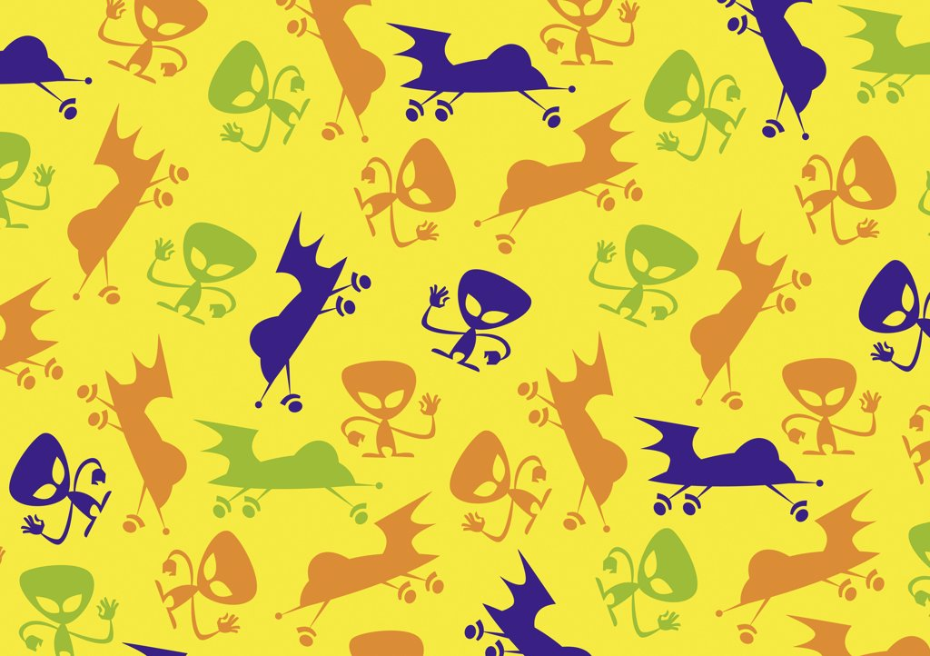 illustrated abstract pattern featuring aliens and spaceships : Stock Photo