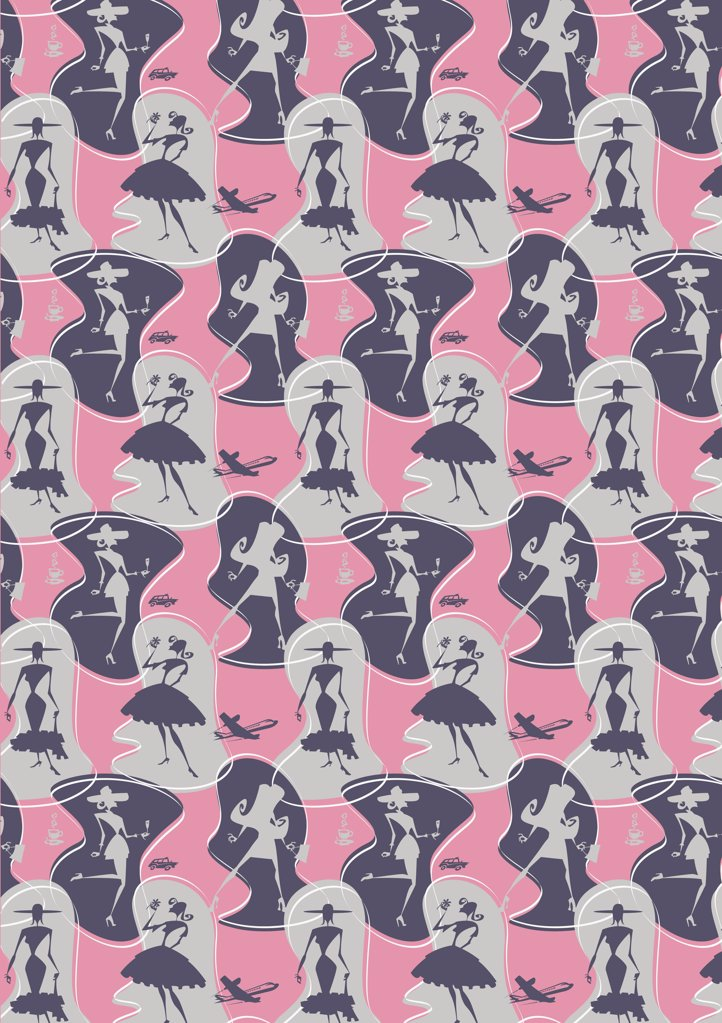 illustrated abstract pattern featuring women : Stock Photo