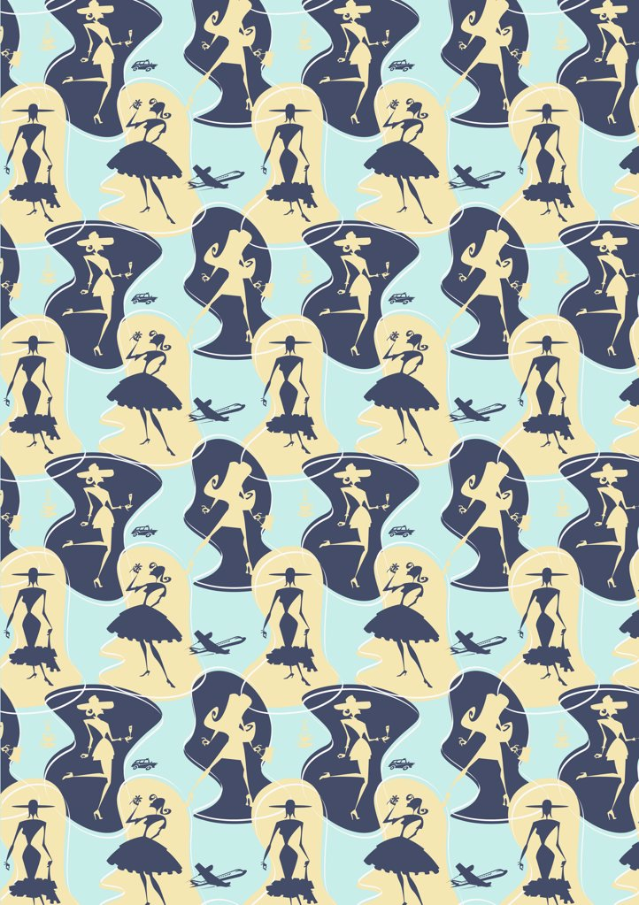 illustrated pattern featuring women : Stock Photo