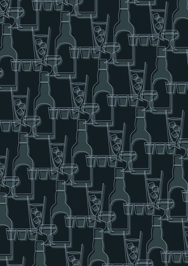 Stock Photo: 1570R-10044 illustrated pattern featuring bottles and cocktails glasses