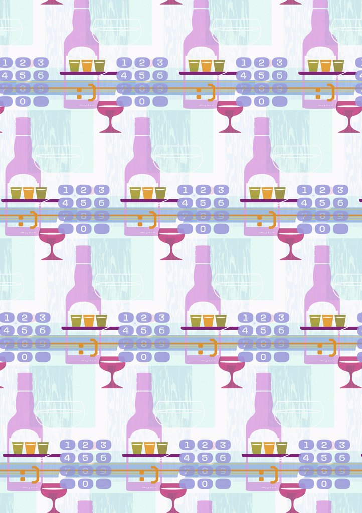 illustrated pattern featuring bottles, cocktail glasses and dialing pads : Stock Photo