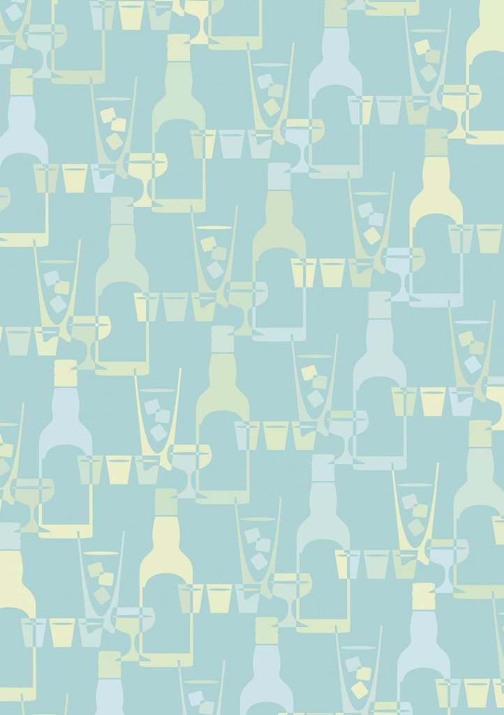 Stock Photo: 1570R-10049 illustrated pattern featuring bottles, cocktail glasses