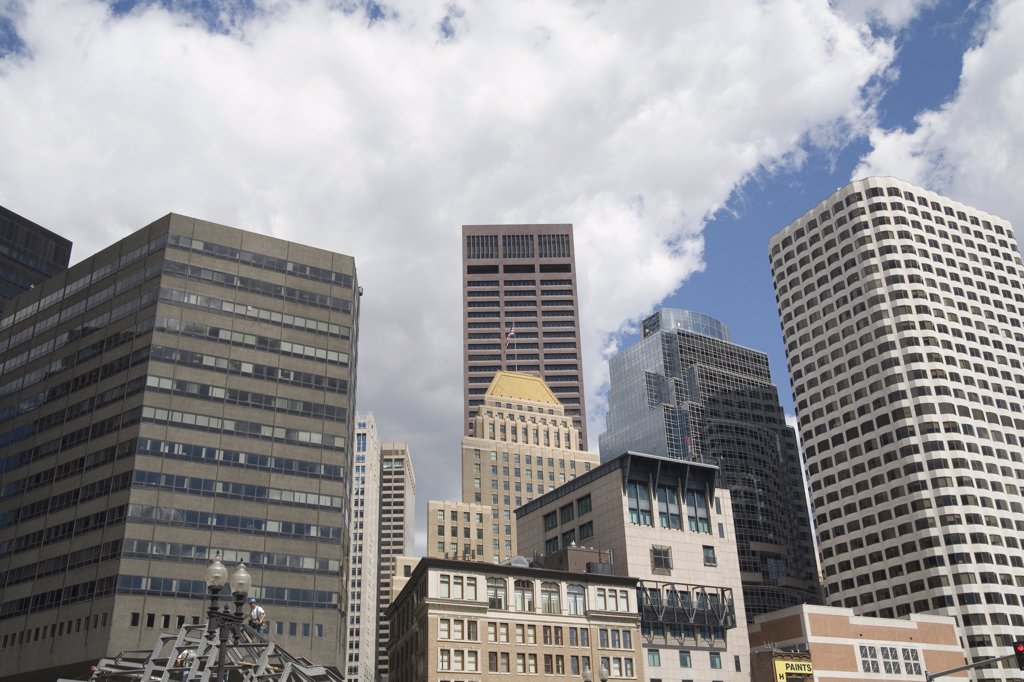 Skyscrapers and buildings in business district, Boston, Massachusetts : Stock Photo