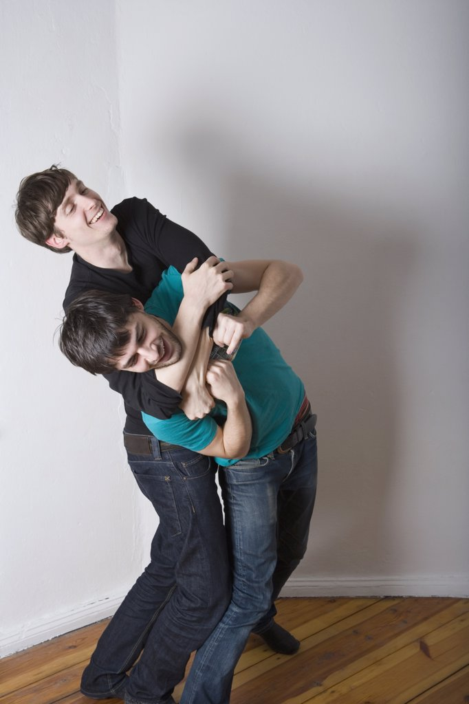 Young gay couple play fighting : Stock Photo