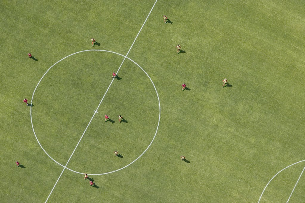 Stock Photo: 1570R-115933 Aerial view of football match