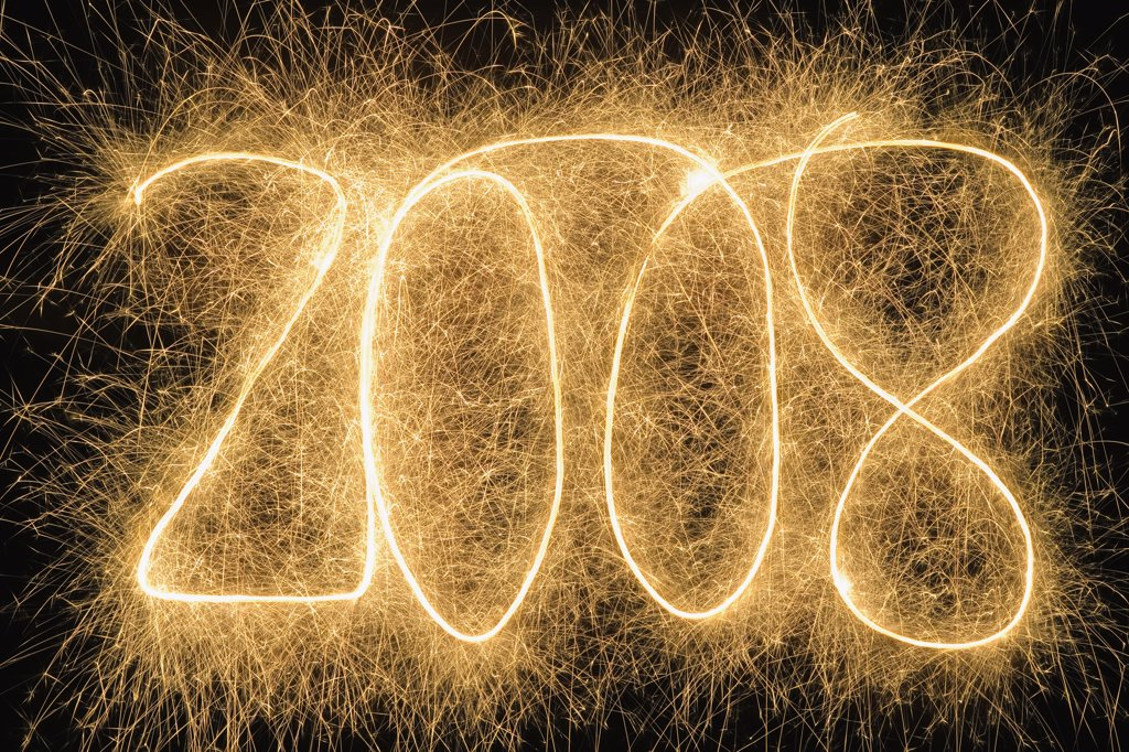 '2008' drawn with a sparkler : Stock Photo