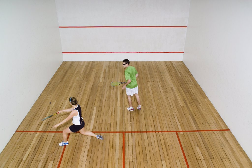 Stock Photo: 1570R-116380 High angle view of two people playing squash