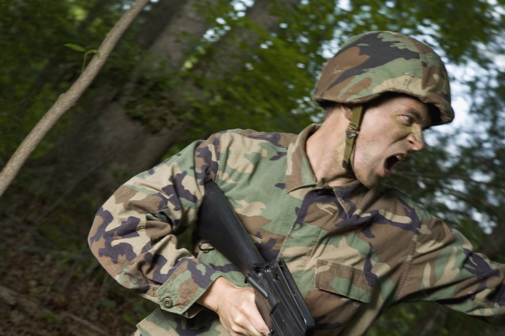 Soldier shouting : Stock Photo