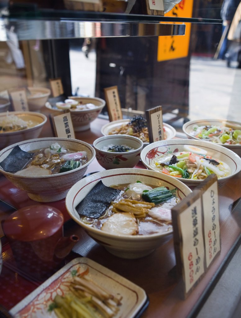 Stock Photo: 1570R-117998 Window display of a Japanese restaurant