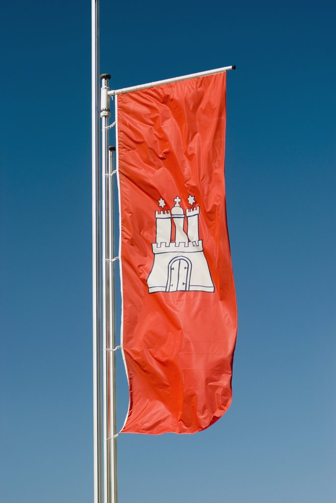 Stock Photo: 1570R-118453 Flag for the city of Hamburg