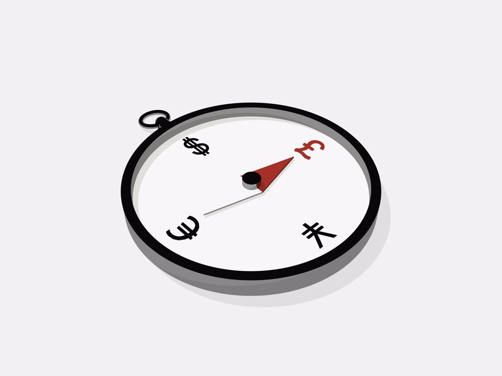 A compass pointing to a Pound symbol : Stock Photo