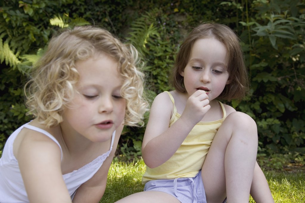 Two young girls at a picnic : Stock Photo