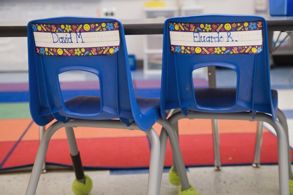 Two chairs in a primary school : Stock Photo
