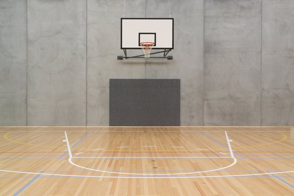 Stock Photo: 1570R-121624 Empty indoor basketball court