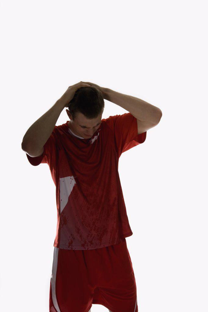 studio Portrait of a soccer player : Stock Photo