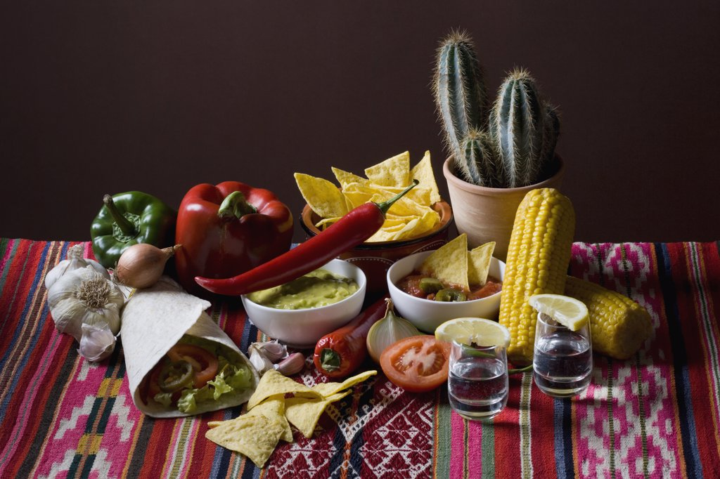 Stock Photo: 1570R-123088 Still life of stereotypical Mexican food and ingredients