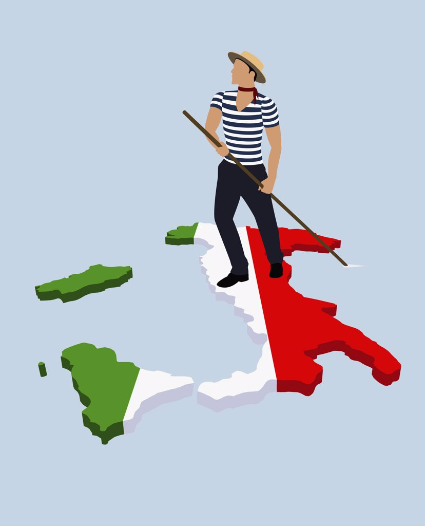 A stereotypical Italian Gondolier standing on the Italian flag in the shape of Italy : Stock Photo