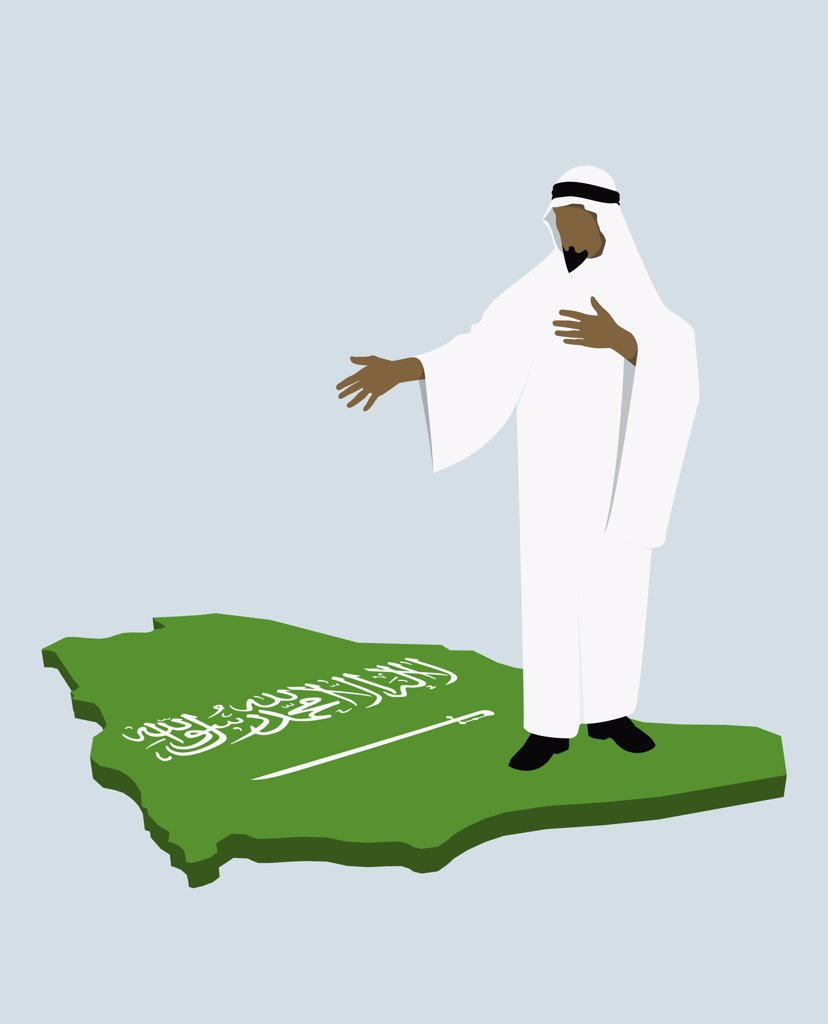 Stereotypical Saudi Arabian man standing on the Saudi Arabian flag in the shape of Saudi Arabia : Stock Photo