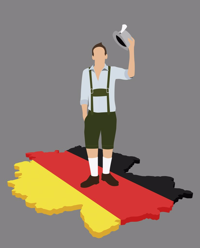 Stock Photo: 1570R-123647 Stereotypical German man standing on a German flag in the shape of Germany