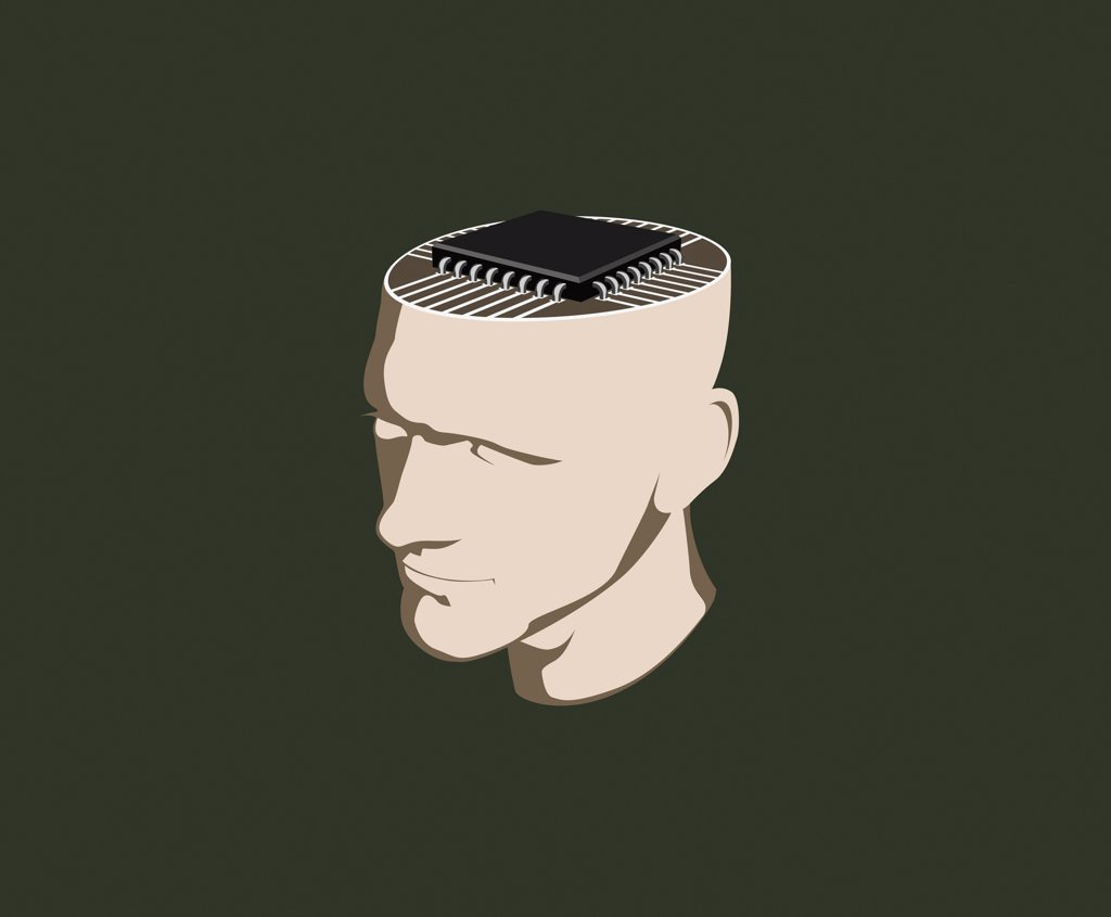 A man with a computer chip inside his head : Stock Photo