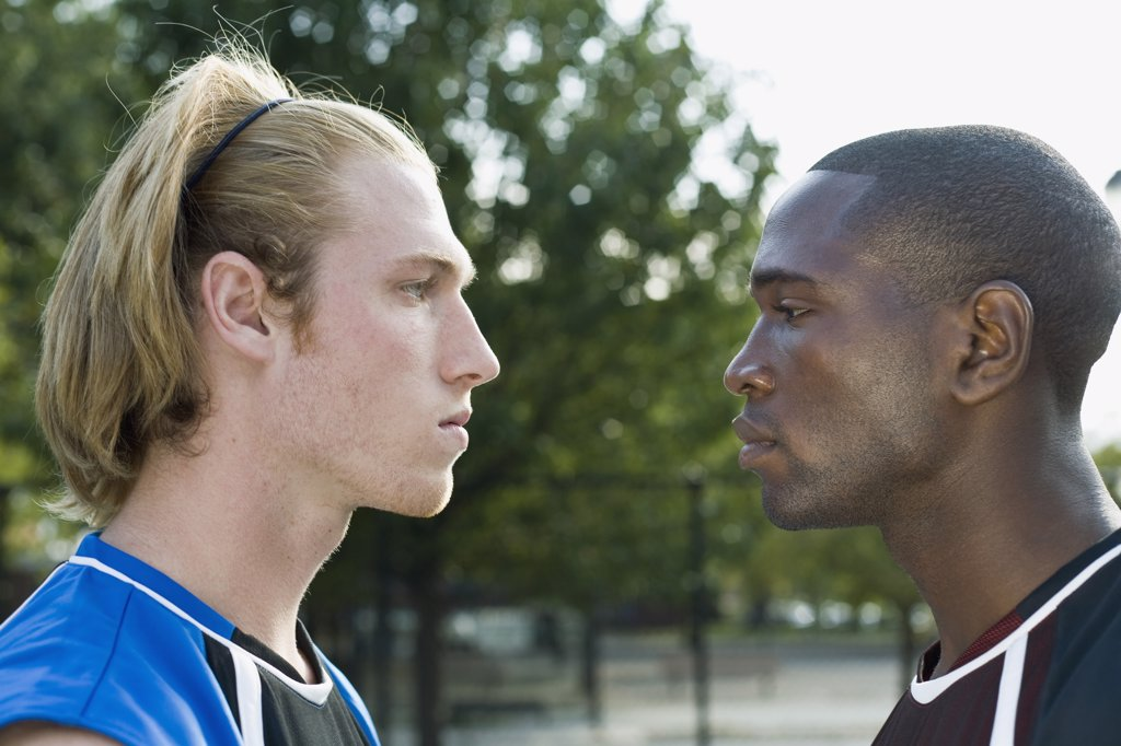 Stock Photo: 1570R-126300 Two basketball players face to face