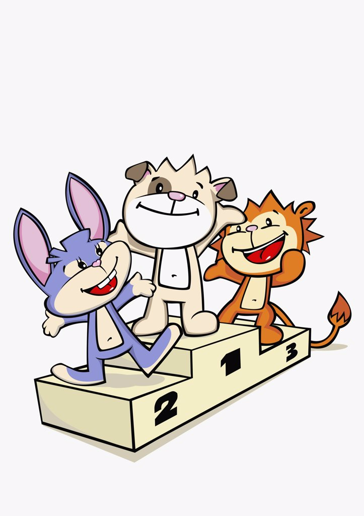 Three cartoon characters standing on a winners podium : Stock Photo