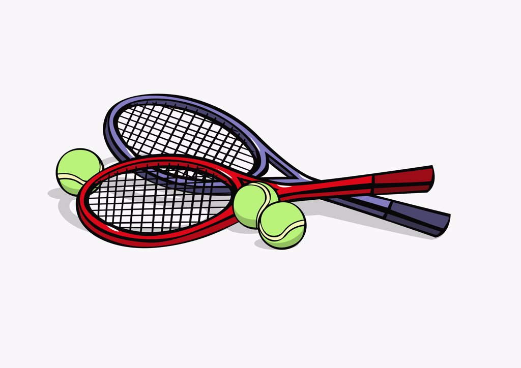 Stock Photo: 1570R-128337 Tennis rackets and tennis balls