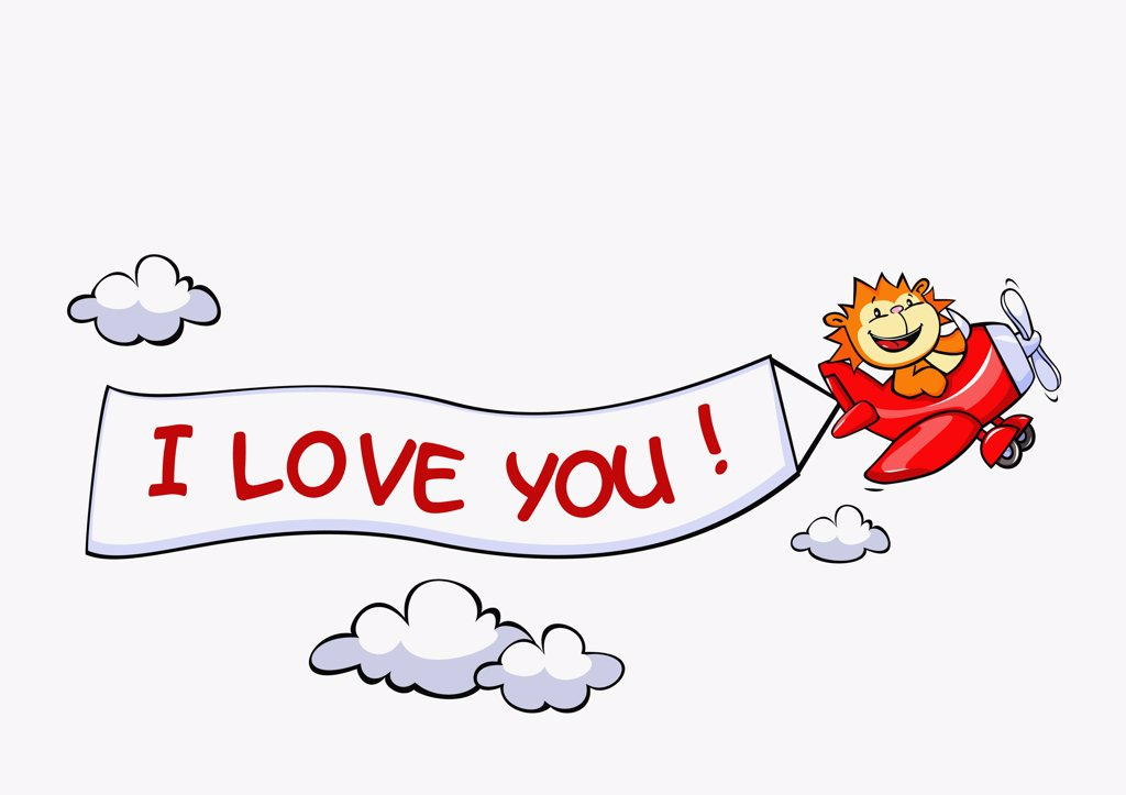 A lion flying an airplane with a banner attached to it that says I LOVE YOU : Stock Photo