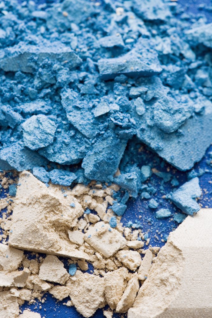 Crushed blue and beige eye shadow : Stock Photo