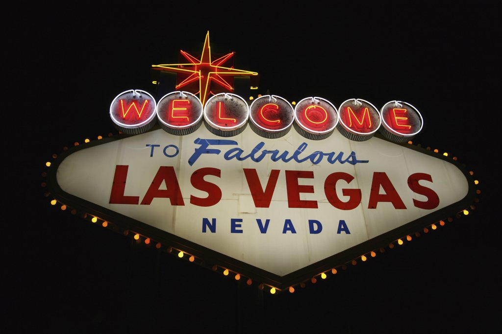 Stock Photo: 1570R-130451 The Welcome to Las Vegas Sign at Night, Las Vegas, Nevada, USA
