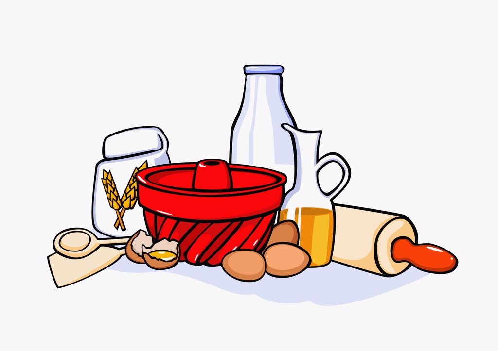 Stock Photo: 1570R-131030 Still life of baking ingredients