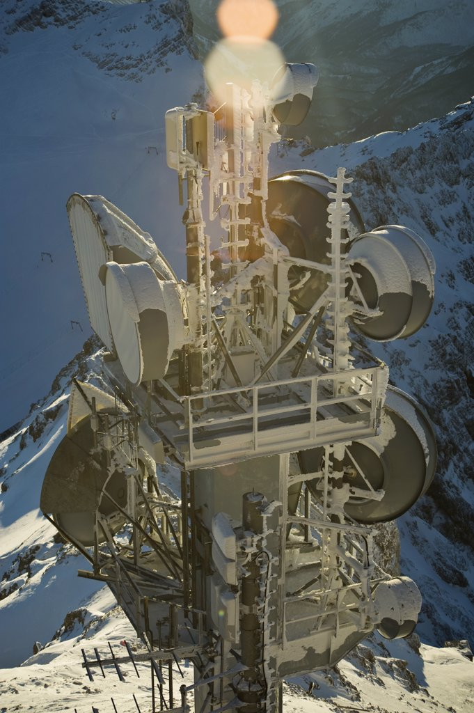 Stock Photo: 1570R-131134 A communications tower on Zugspitze, Garmisch-Partenkirchen, Germany