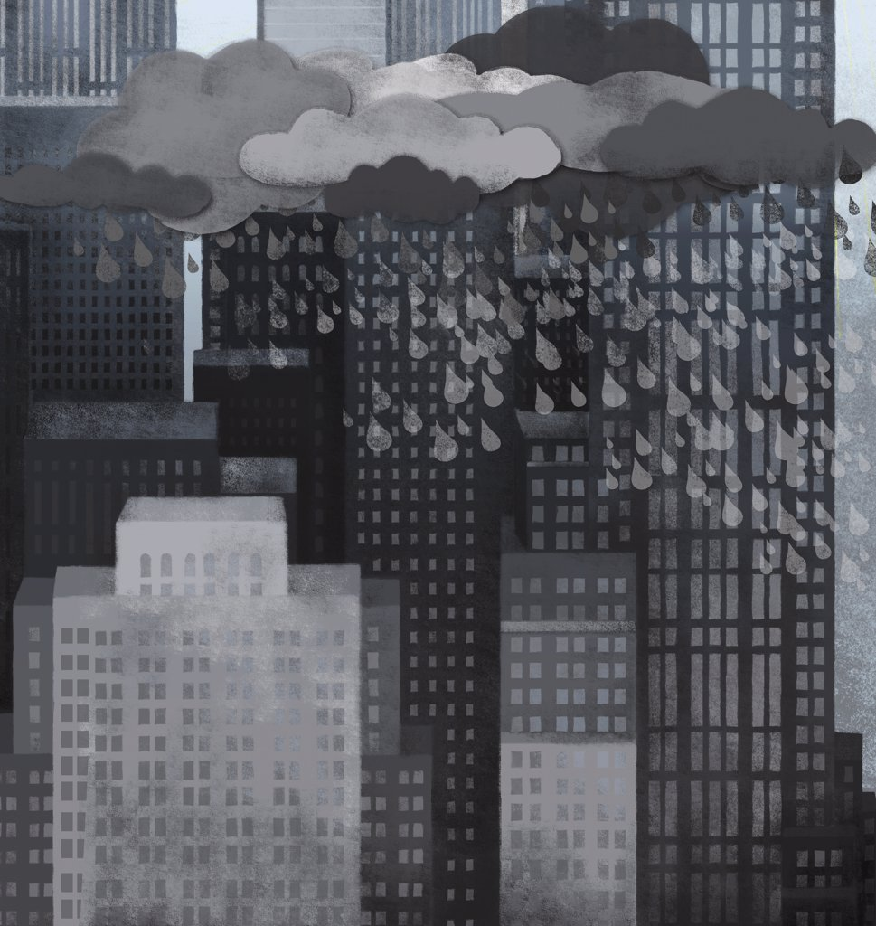 Storm clouds, rain and skyscrapers : Stock Photo