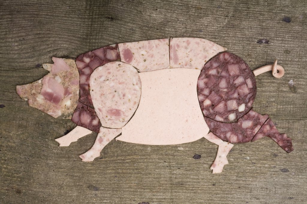 Stock Photo: 1570R-133904 Cold cut meats arranged in the shape of a pig on wood