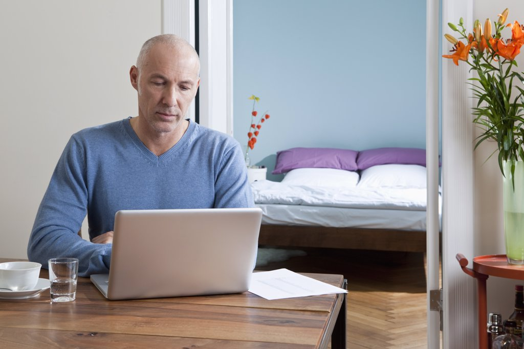 A man working on his laptop at home : Stock Photo