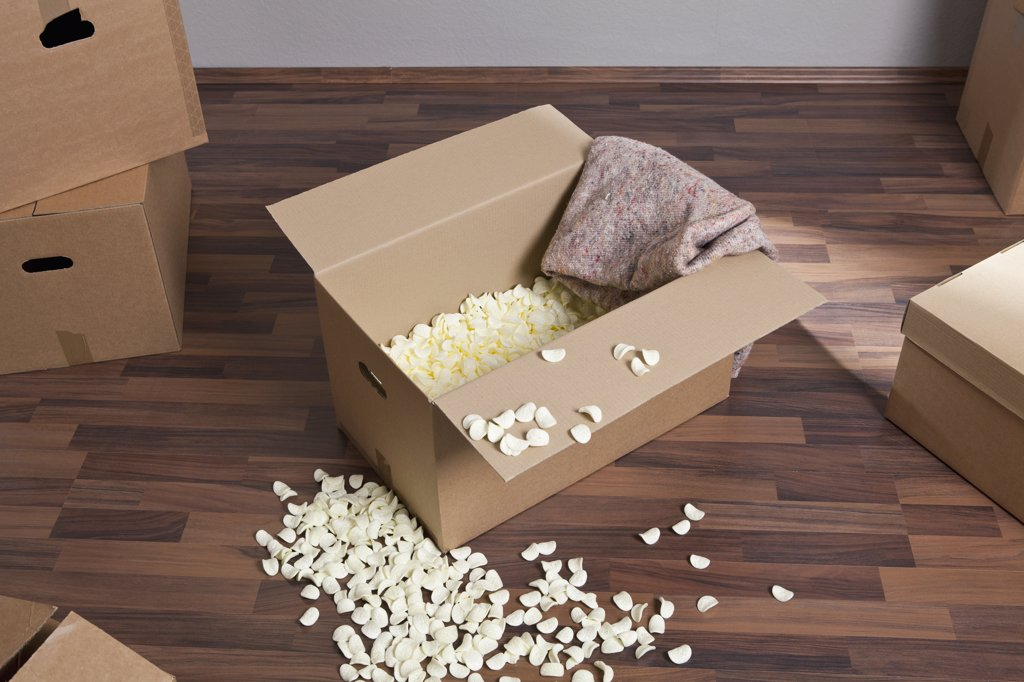 Stock Photo: 1570R-135600 Moving boxes, packing peanuts and a drop cloth