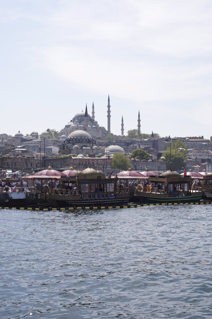 Stock Photo: 1570R-137357 Tour boats on the Golden Horn River below the Suleymaniye Mosque, Istanbul, Turkey