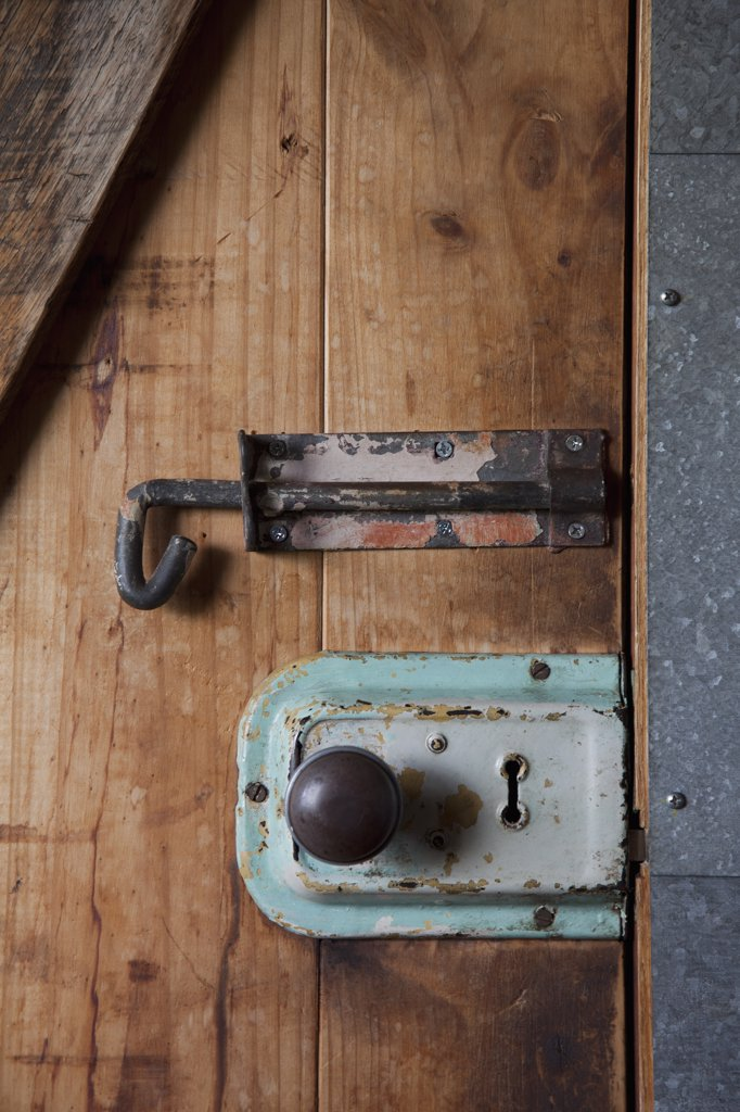 Stock Photo: 1570R-137865 Two old-fashioned locks on a wooden door