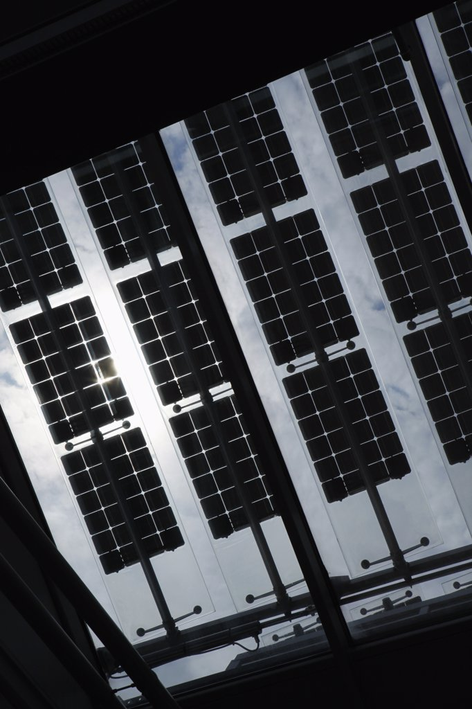 Solar panels on the roof of Jakob Kaiser Haus building : Stock Photo