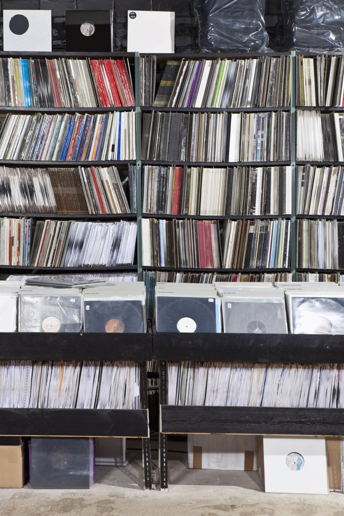 Stock Photo: 1570R-139248 Rows of records on shelves and in bins at a record store